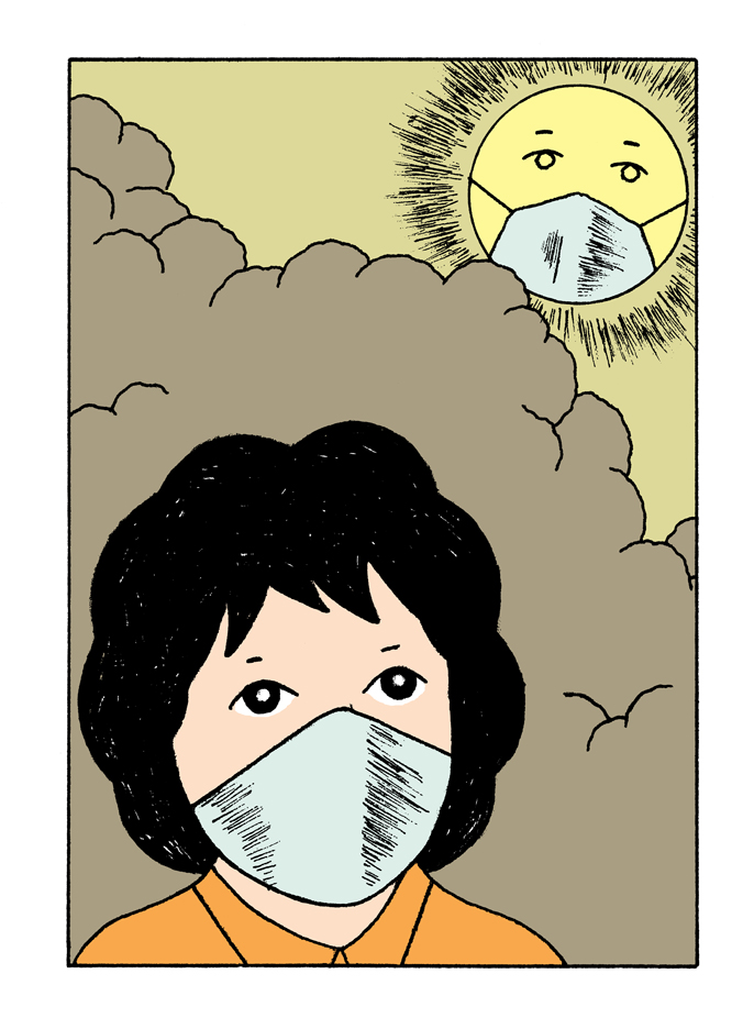 Alain-Pilon-Book-illustration-Des-Heros-Pour-La-Terre-by-Isabelle-Collombat-Actes-Sud-Junior-air-pollution-