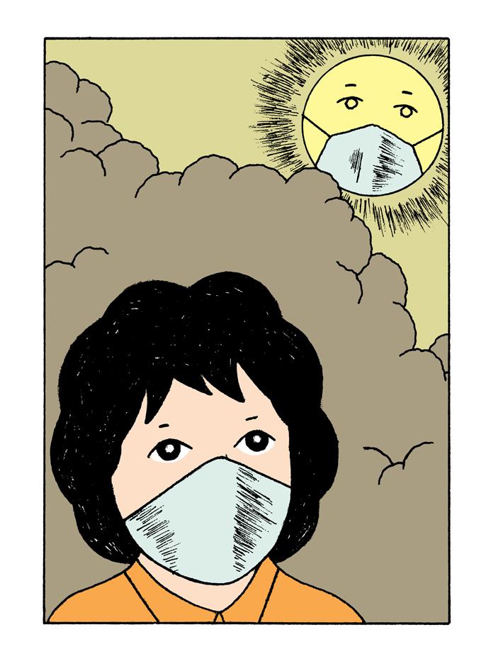 Alain-Pilon-Book-illustration-Des-Heros-Pour-La-Terre-by-Isabelle-Collombat-Actes-Sud-Junior-air-pollution-