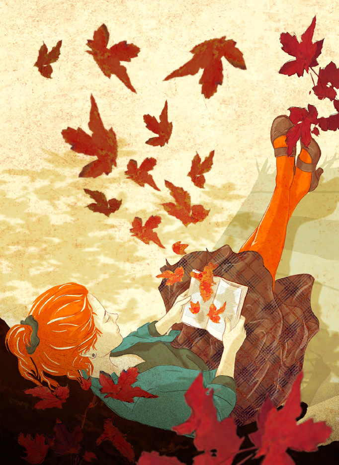 Birgit-Schössow-Falling-leaves-in-Autumn-illustration-for-German-newspaper-Die-Zeit