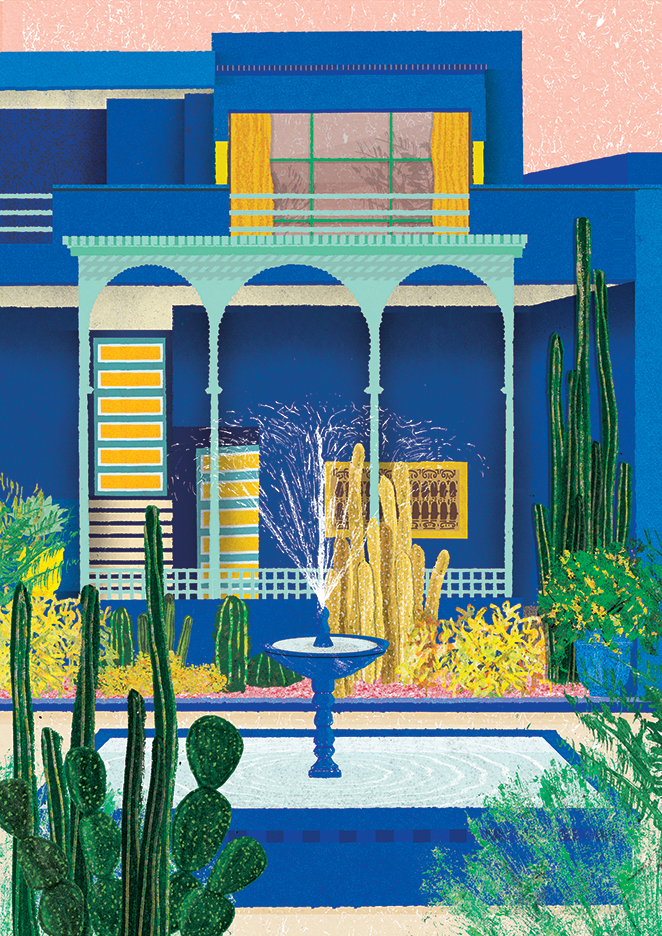 Daniel-Clarke-Personal-work-illustrating-existing-buildings-and-imagined-environments-focused-around-architectural-forms.-Jardin-Majorelle