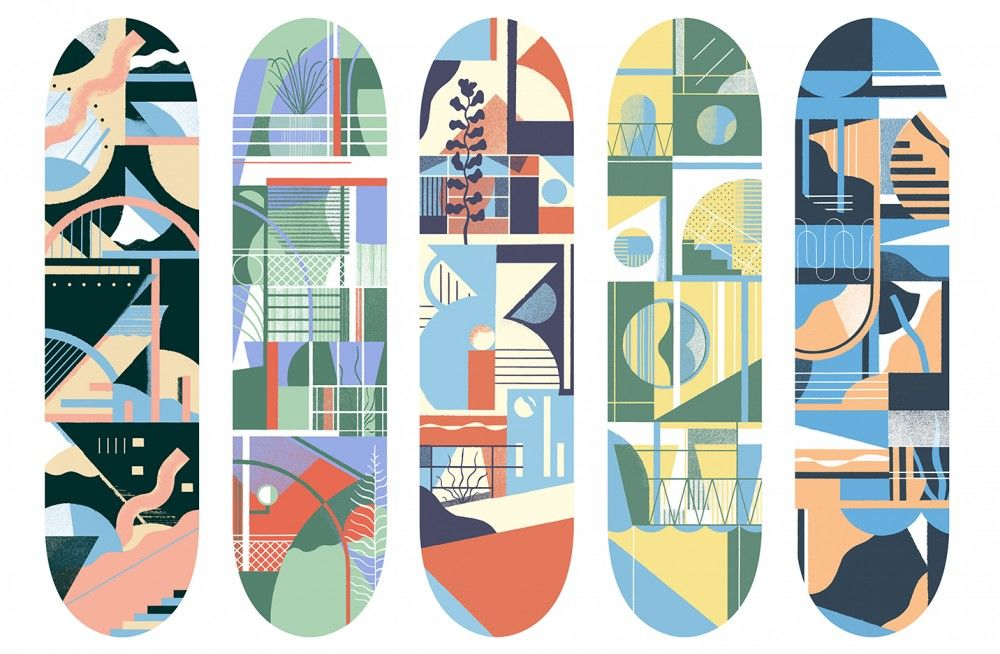 Daniel-Clarke-Series-of-skateboard-graphics-of-which-one-was-used-for-Habitat-skateboards