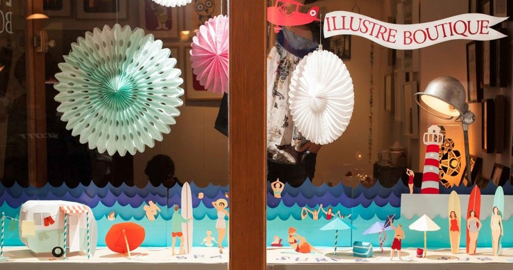 Hélène-Druvert-window-display-Sea-Sun-and-Surf