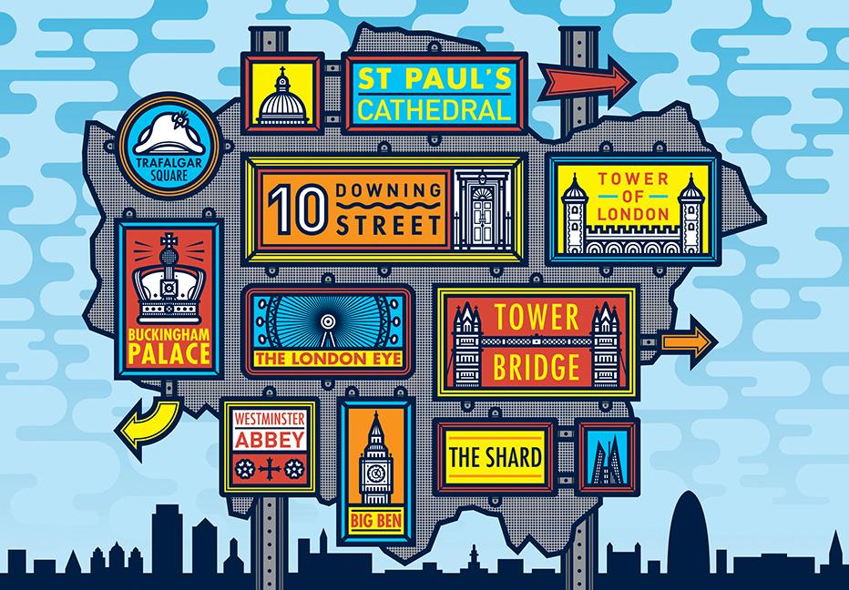 Illustration-for-London-in-50-maps-guide-London-Major-Landmarks-