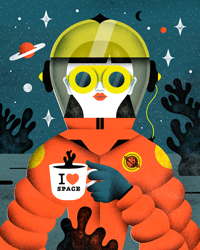 Illustration-for-the-25th-anniversary-of-FNAC-Spain.-The-future-everyday-objects-such-as-coffee-maker-and-phone-.
