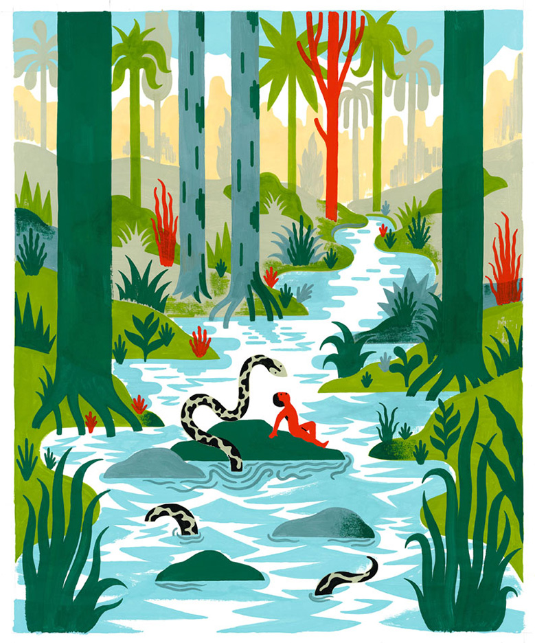 Inside-illustration-The-Jungle-Book-Adaptation-of-Rudyard-Kiplings-novel-by-Veronique-Ovaldé-Gallimard-Jeunesse-publisher
