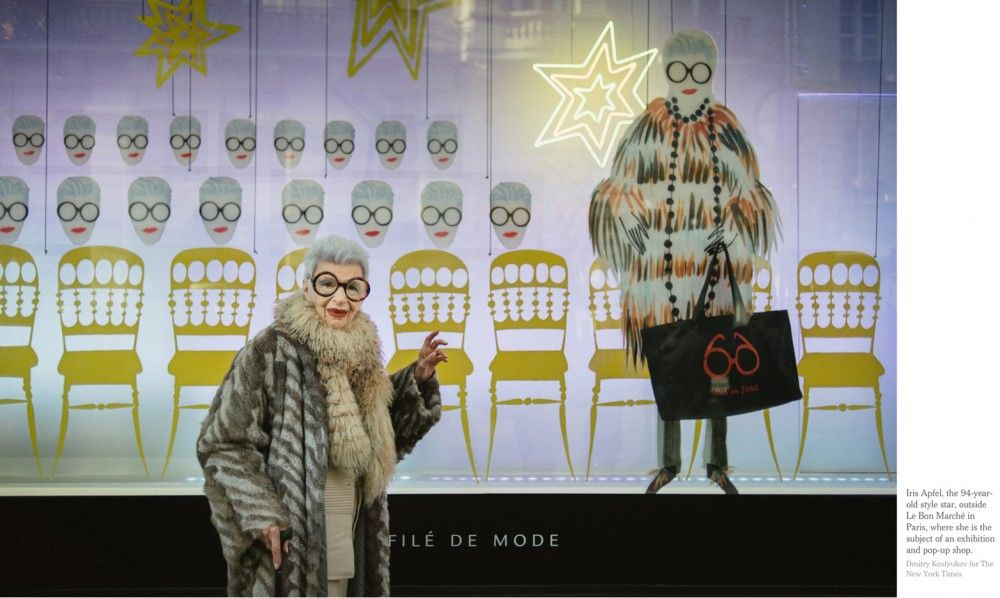 Iris-Apfel-in-front-of-one-of-Le-Bon-Marché-Rive-Gauche-windows-for-the-event-Iris-in-Paris