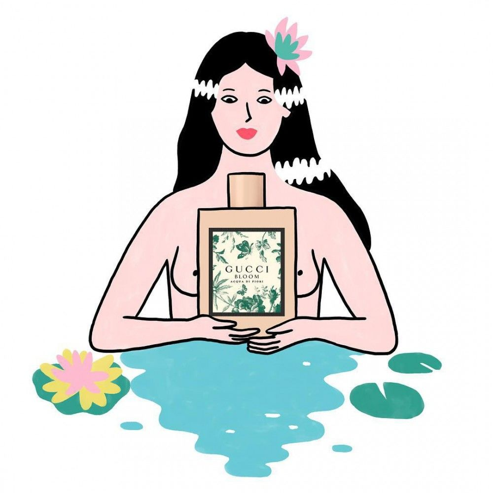 Lorraine-Sorlet-Illustration-for-Gucci-Bloom-Acqua-Di-Fiori-perfume