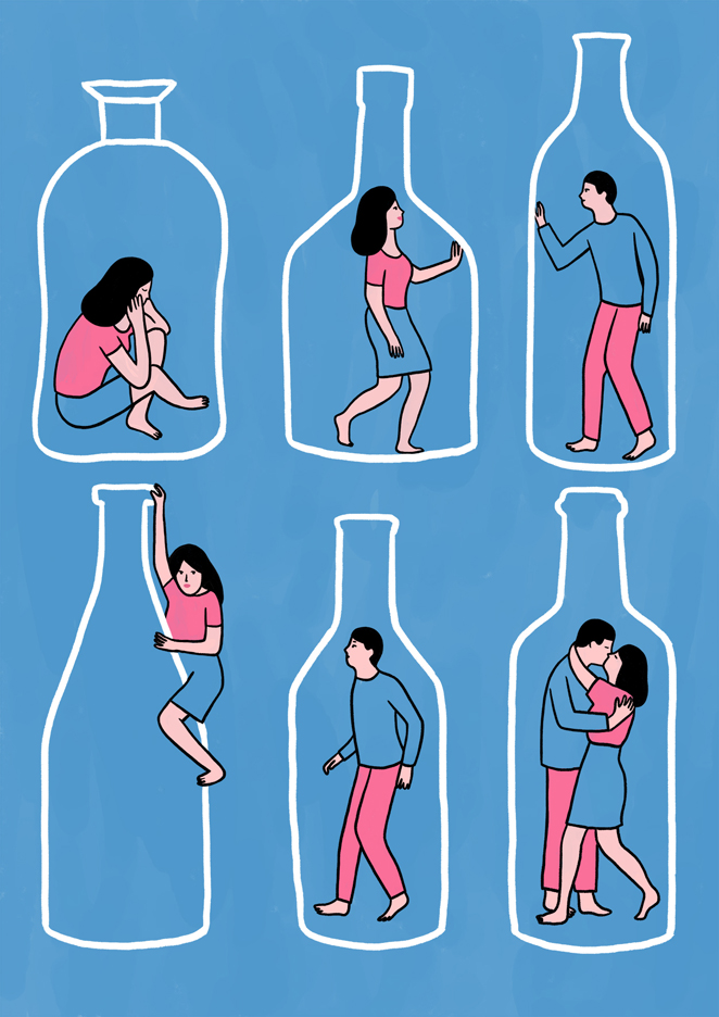 Lorraine-Sorlet-Illustration-for-the-French-art-magazine-Kibling-on-the-topic-of-Bottle