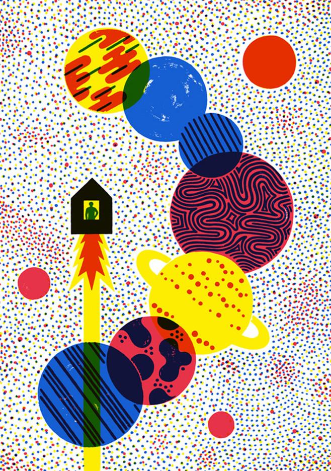 Poster-personal-project-La-maison-de-lespace-t-printed-3-colors-Risograph-RP-3105