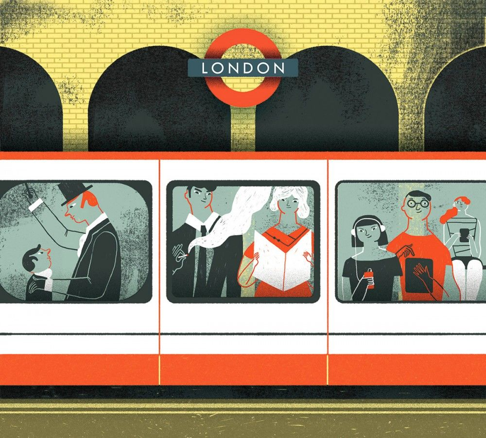 illustration-for-Open-Skies-Magazine-London-subway-