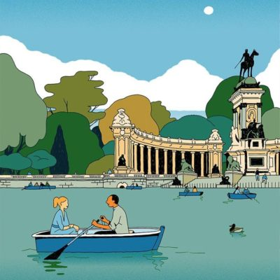 Garance-Vincent-Mahé-city-stickers-series-for-Rimowa-Madrid-parque-del-retiro-400x400