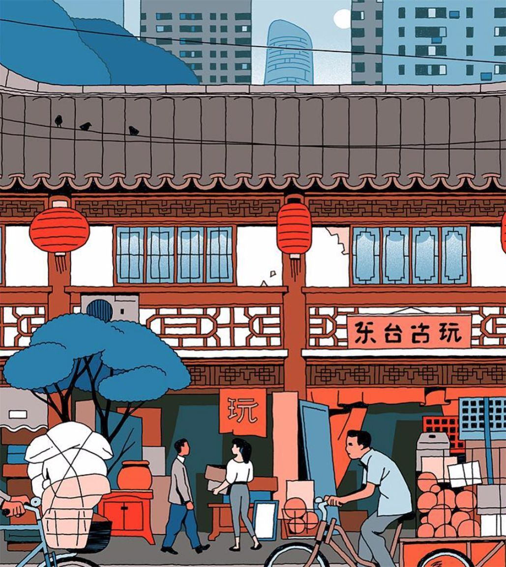 Garance-Vincent-Mahé-city-stickers-series-for-Rimowa-ShangaiYuyuan-Old-Street-Market