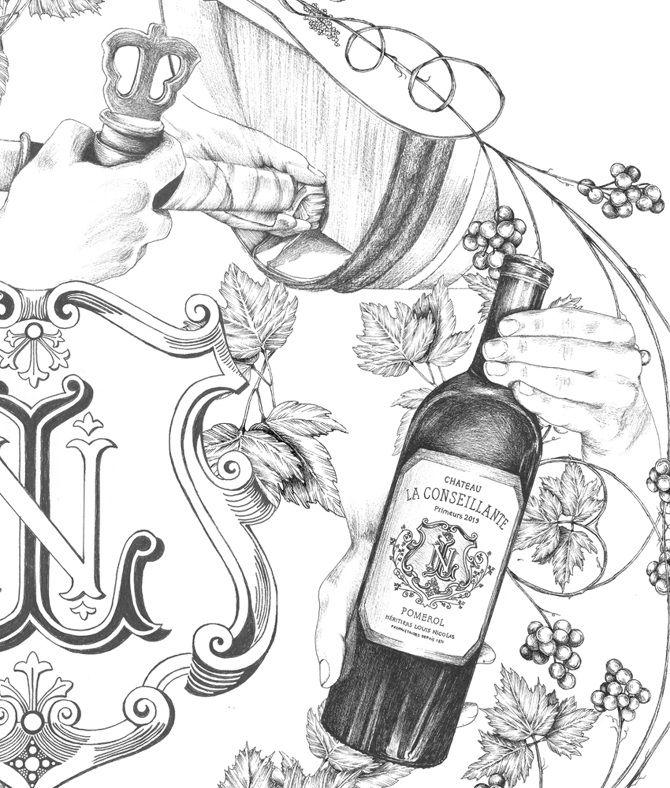 garance-illustration-Frederique-Vernillet-La-Conseillante-Winery-Detail_web
